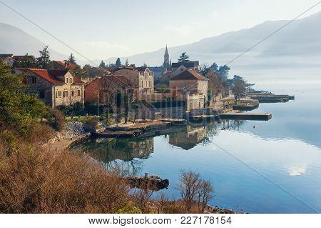 Winter View Of Small Mediterranean Town Of Dobrota.  Montenegro, Bay Of Kotor