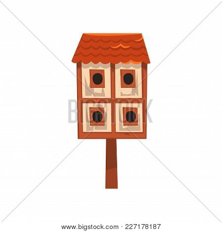 Cute Wooden Two Storied Bird House, Nesting Box Cartoon Vector Illustration Isolated On A White Back