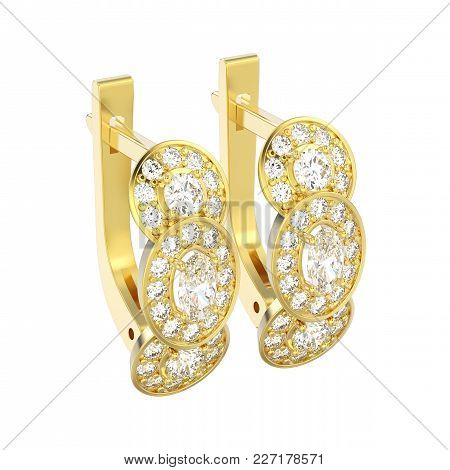 3d Illustration Isolated Yellow Gold Three Stone Solitaire Diamond Earrings With Hinged Lock On A Wh