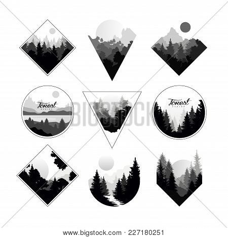 Collection Of Monochrome Landscapes In Geometric Shapes Circle, Triangle, Rhombus. Natural Sceneries