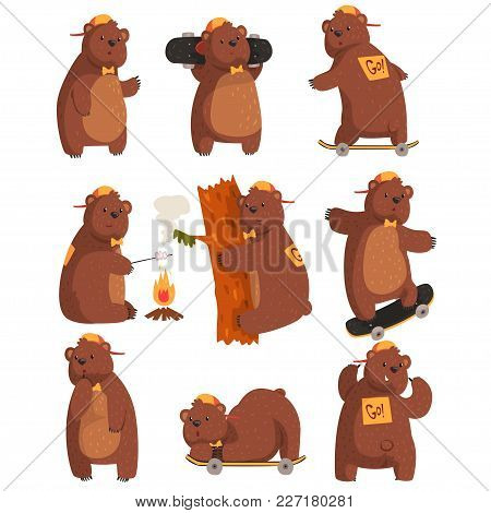 Vector Set Of Funny Teen Bear In Various Situations. Cartoon Forest Animal With Brown Fur, Small Rou