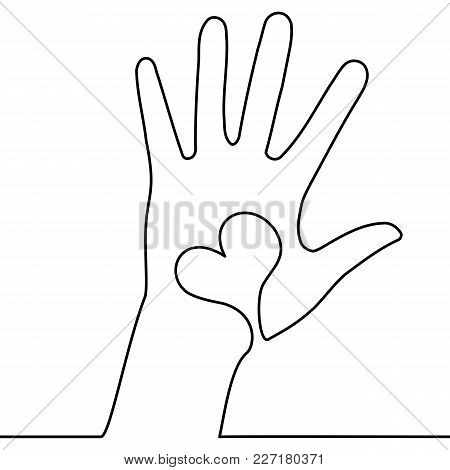 One Continuous Line Drawing Of Hand With Heart On White Background. Healthcare Vector Illustration C