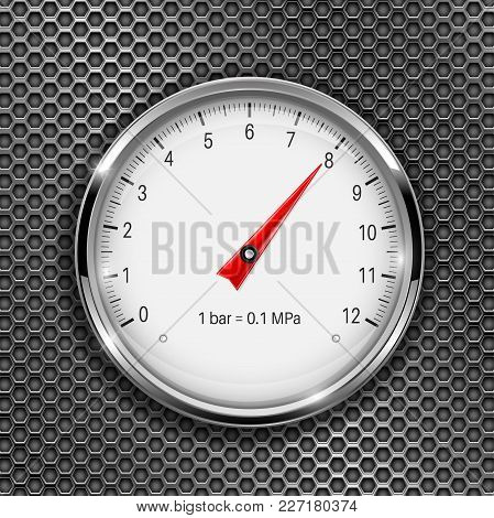 Manometer. Round Gauge With Metal Frame On Perforated Background. Vector 3d Illustration