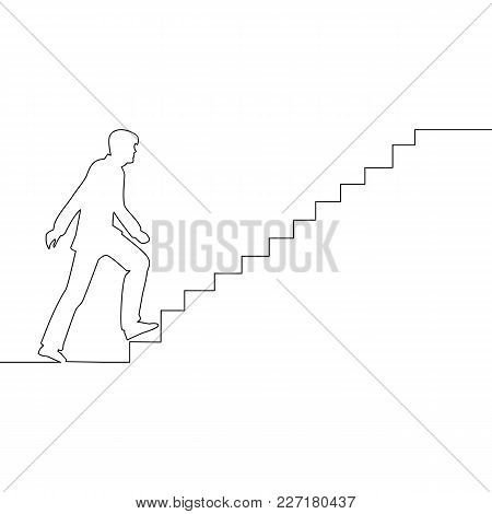 Ambitions Concept Continuous One Drawn Line Man Climbs The Stairs. A Metaphor For Reaching The Goal