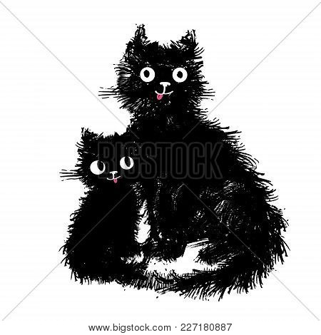 Mama Cat And Her Baby Kitten Sitting. Hand Drawn Illustration Cute Fluffy Funny Cats.