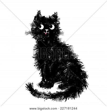 Cat, Vector Illustration, Hand-drawn Cute Fluffy Funny Cat.