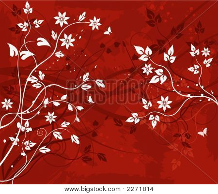 Abstract artistic decor design floral background - vector illustration poster