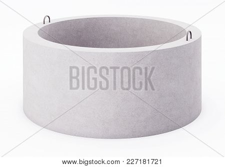 Concrete Ring For Well On White Background. 3d Rendering