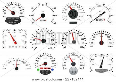 Speedometer And Tachometer Scales. Large Collection. Vector Illustration Isolated On White Backgroun