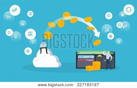 Bitcoin Cloud Mining. Flat Design Style Web Banner Of Blockchain Technology, Bitcoin, Altcoins, Cryp