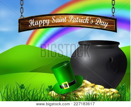 St. Patrick S Day Symbol Pot Gold Coins Leprechaun Hat And Rainbow With Hangin Wooden Board Vector I