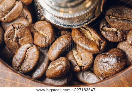 Coffee Beans In A Coffee Grinder