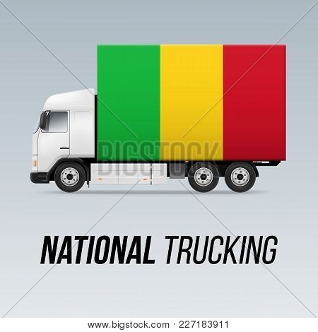 Symbol Of National Delivery Truck With Flag Of Mali. National Trucking Icon And Malian Flag