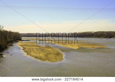 Sandbars On The Missouri River In Chesterfield Missouri