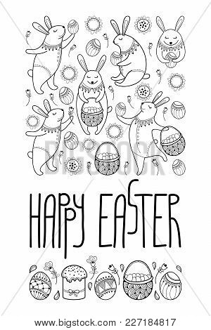 Vector Happy Easter Card With Outline Rabbit And Easter Symbols In Black Isolated On White Backgroun