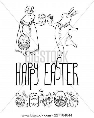 Vector Happy Easter Card With Outline Easter Rabbit Couple And Traditional Easter Symbol In Black Is
