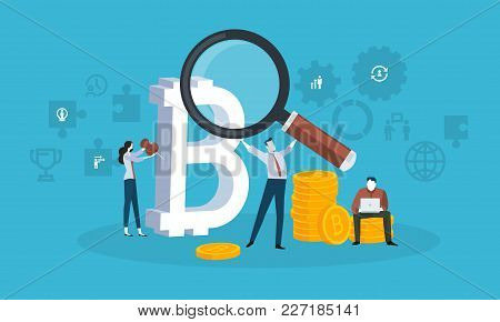 Blockchain Technology. Flat Design Style Web Banner Of Blockchain Technology, Bitcoin, Altcoins, Cry
