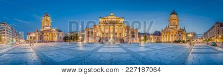 Classic Panoramic View Of Famous Gendarmenmarkt Square With Historic Berlin Concert Hall And German