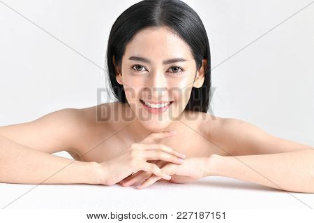 The Concept Of Healthy Beautiful Woman. Beautiful Women Keep Healthy. Beautiful Woman Smiling With H