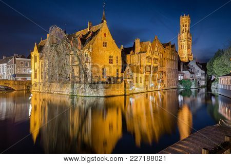 Classic Postcard View Of The Historic City Center Of Brugge, Often Referred To As The Venice Of The