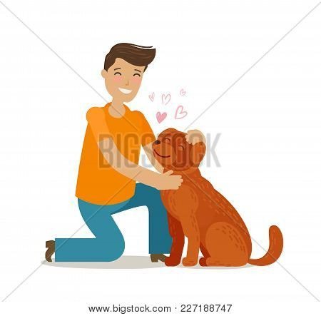 Happy Young Man With Dog. Pet, Pooch, Doggie Concept. Cartoon Vector