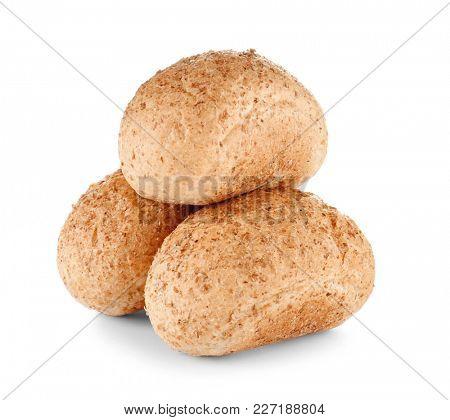Fresh tasty buns isolated on white
