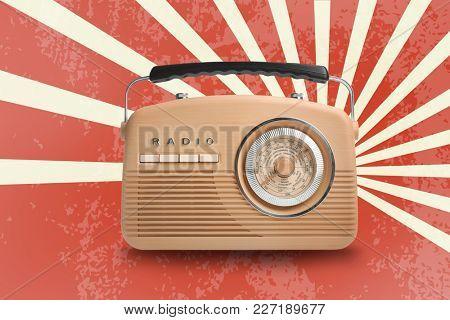 Stylish radio on color background