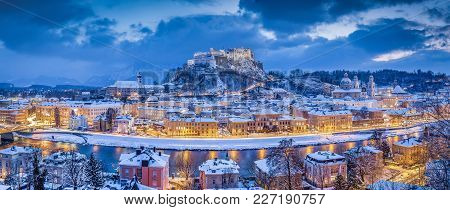 Classic Panoramic Twilight View Over The Historic City Of Salzburg With Famous Hohensalzburg Fortres