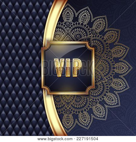 Elegant Vip Invitation Card With Golden Ribbons And Ethnic Mandala Ornament. Vector Illustration