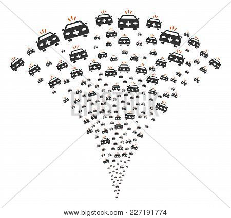 Emergency Car Burst Fountain. Vector Illustration Style Is Flat Iconic Symbols. Object Fountain Comb