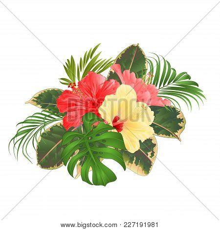 Bouquet With Tropical Flowers Hawaiian Style Floral Arrangement, With Beautiful Pink And Yellow Hibi
