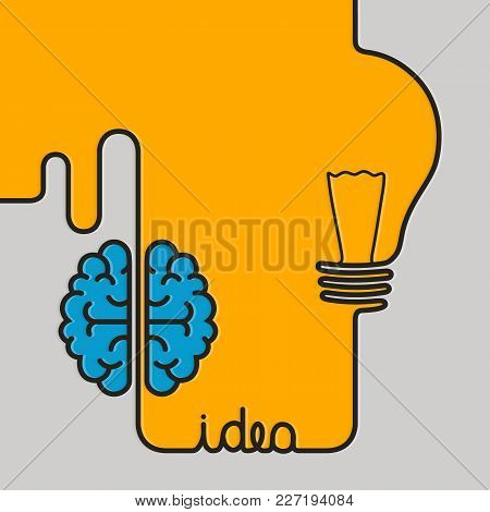 Creative Brainstorm Concept Business Idea. Wire Forming A Brain And Lightbulb. Vector.