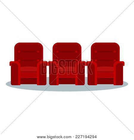 Auditorium And Seats In A Movie Theater. Flat Vector Cartoon Cinema Interior Illustration With Chair