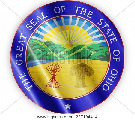 Us State Ohio Seal Textured Proud Country Waving Flag Close