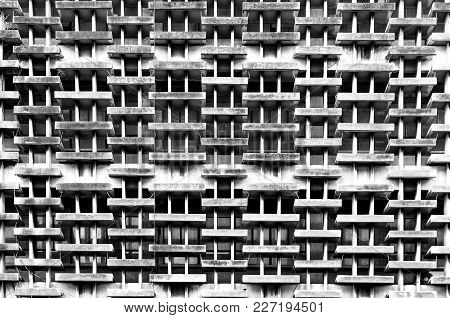 Monochrome Of Old Building External Detail Pattern