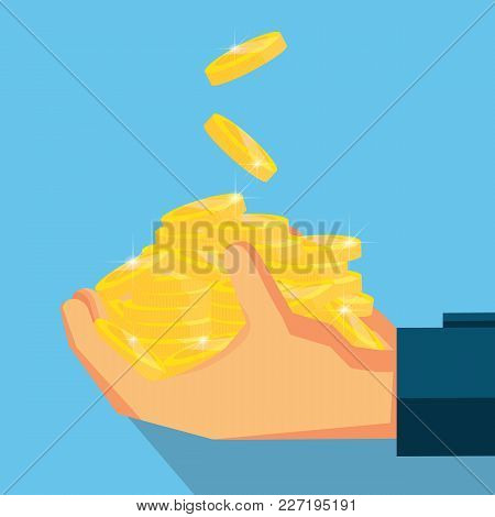 Pile Coins On Hand .vector Design For Business Finance.