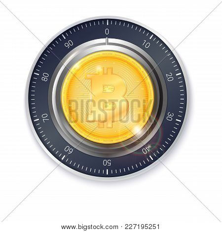 Safe Lock With Crypto Currency Coin Of Bitcoin. Realistic Metallic Combination Lock For Safety Illus