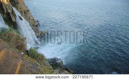 The Duden Waterfall. Antalya, Turkey. Mediterranean Seashore