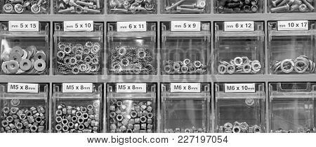Many Bolts And Nuts In The Hardware Store