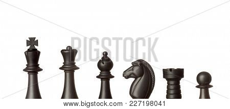 Black chess figures isolated on a white background