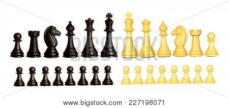 Set of black and white chess pieces isolated on a white background