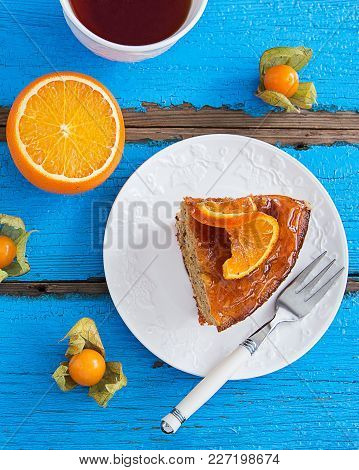 Almond Nut Cake Orange Sweet Glaze.