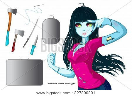 Zombie Girl With Black Hair. Things For The Zombie Apocalypse - Ax, Knife, Medical Kit, Zombie Case