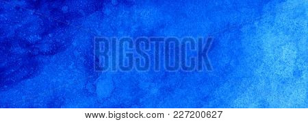 Web Banner Marine Or Navy Blue Watercolor Gradient Fill Background. Watercolour Stains. Abstract Pai
