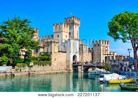 Sirmione, Northern Italy. Medieval Castle Scaliger On Lake Garda.