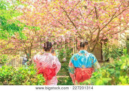 Philosopher's Walk Women In Kimono