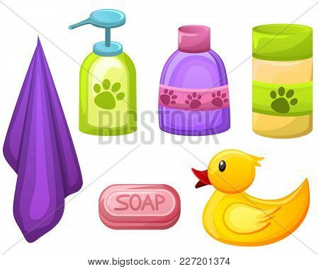 Set Of Pet, Animal Grooming Object For Pet Salon.soap, Shampoo And Other Liquids In Different Colorf