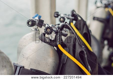 Scuba Compressed Air Tank On Boat. Ready For Diving.