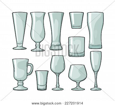 Set Empty Glass Beer, Vodka, Whiskey, Wine, Gin, Rum, Tequila, Cognac, Champagne, Cocktail. Vector E