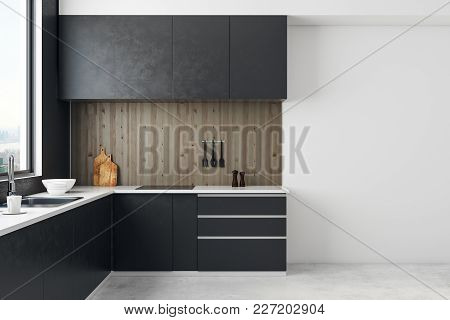 Contemporary Kitchen Room Interior With Copy Space On Wall And Daylight. Mock Up, 3d Rendering